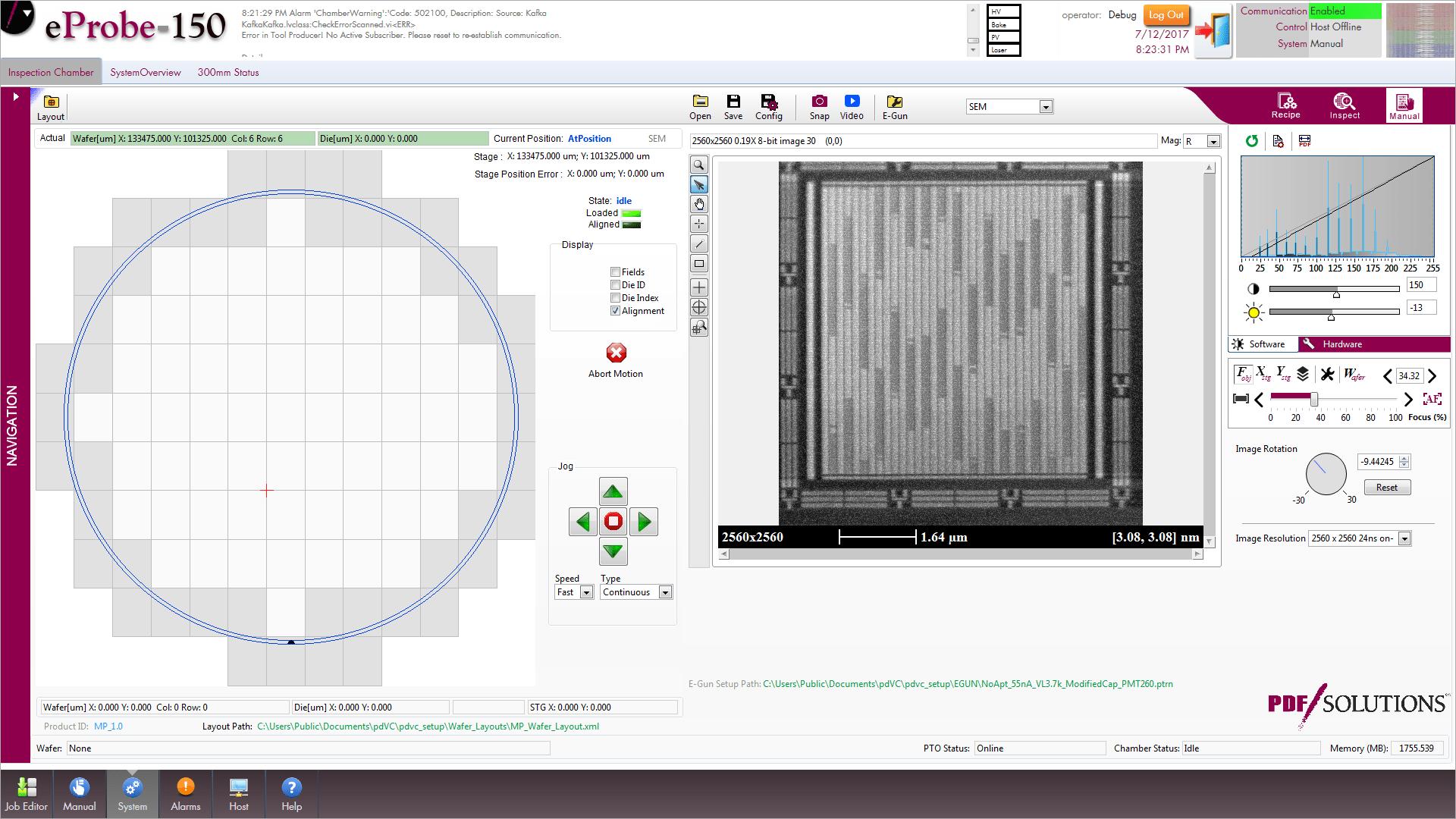 eProbe-150 user interface